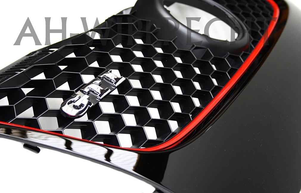 original vw us k hlergrill gti gt golf 5 v 1k grill klavier schwarz rot gitter ebay. Black Bedroom Furniture Sets. Home Design Ideas